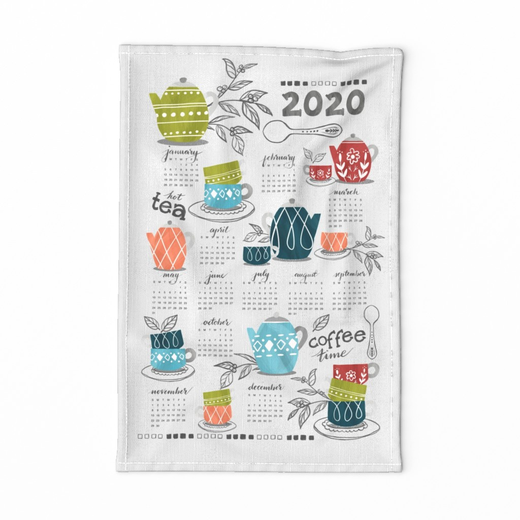 Special Edition Spoonflower Tea Towel featuring Coffee & Tea Party - Tea Towel Calendar  by oppositedge