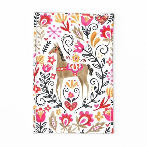 Folk Horse Tea Towel