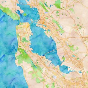 San Francisco watercolor map 18x18