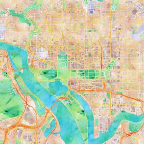 Washington, DC watercolor map 18x18