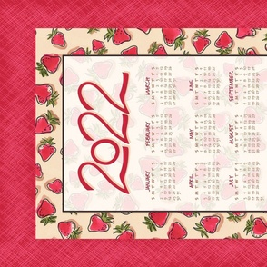 "2020 Calendar Tea Towel - How Sweet It Is ©Julee Wood - TO PRINT CORRECTLY choose FAT QUARTER in any fabric 54"" or wider"