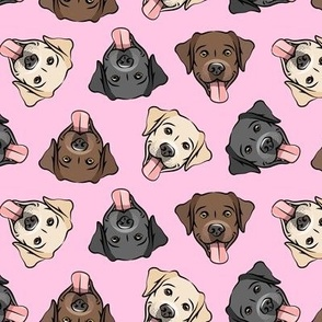 all the labs - cute happy labrador retriever dog breed - pink - LAD19