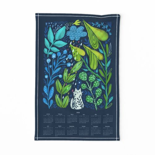 To plant a garden is to believe in tomorrow. Cat and leaves, flowers. Pet animals tea towel.