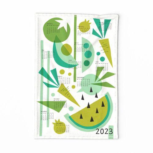 Papercut Veggies Green Calendar 2022 tea towel