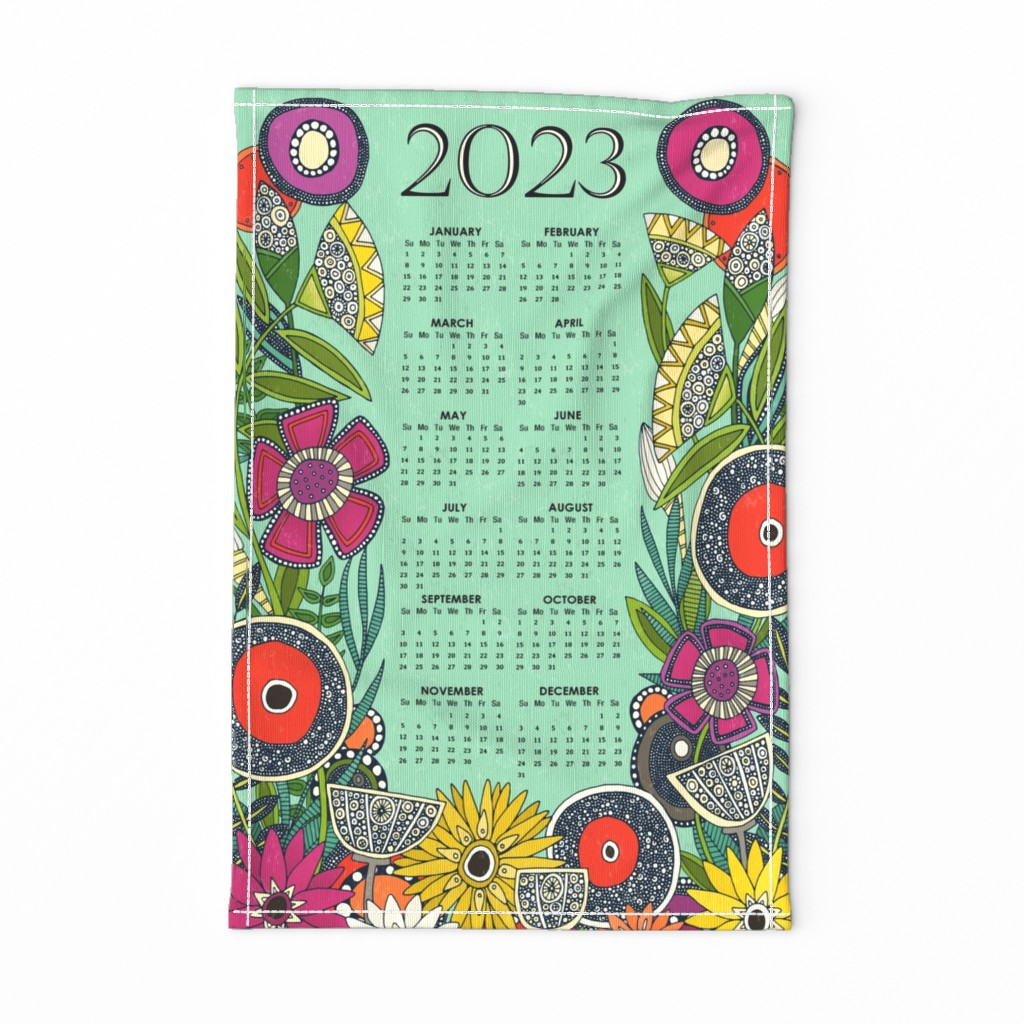 Special Edition Spoonflower Tea Towel featuring joie floral 2020 calendar tea towel by scrummy