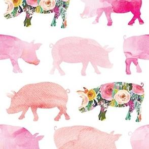 floral + watercolor pigs