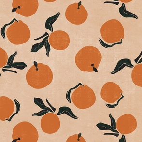 mid-century clementines on sandy beige