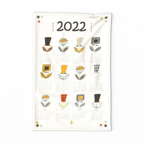 Mod Flower Tea Towel 2021 Calendar