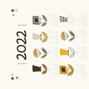 Mod Flower Tea Towel 2020 Calendar