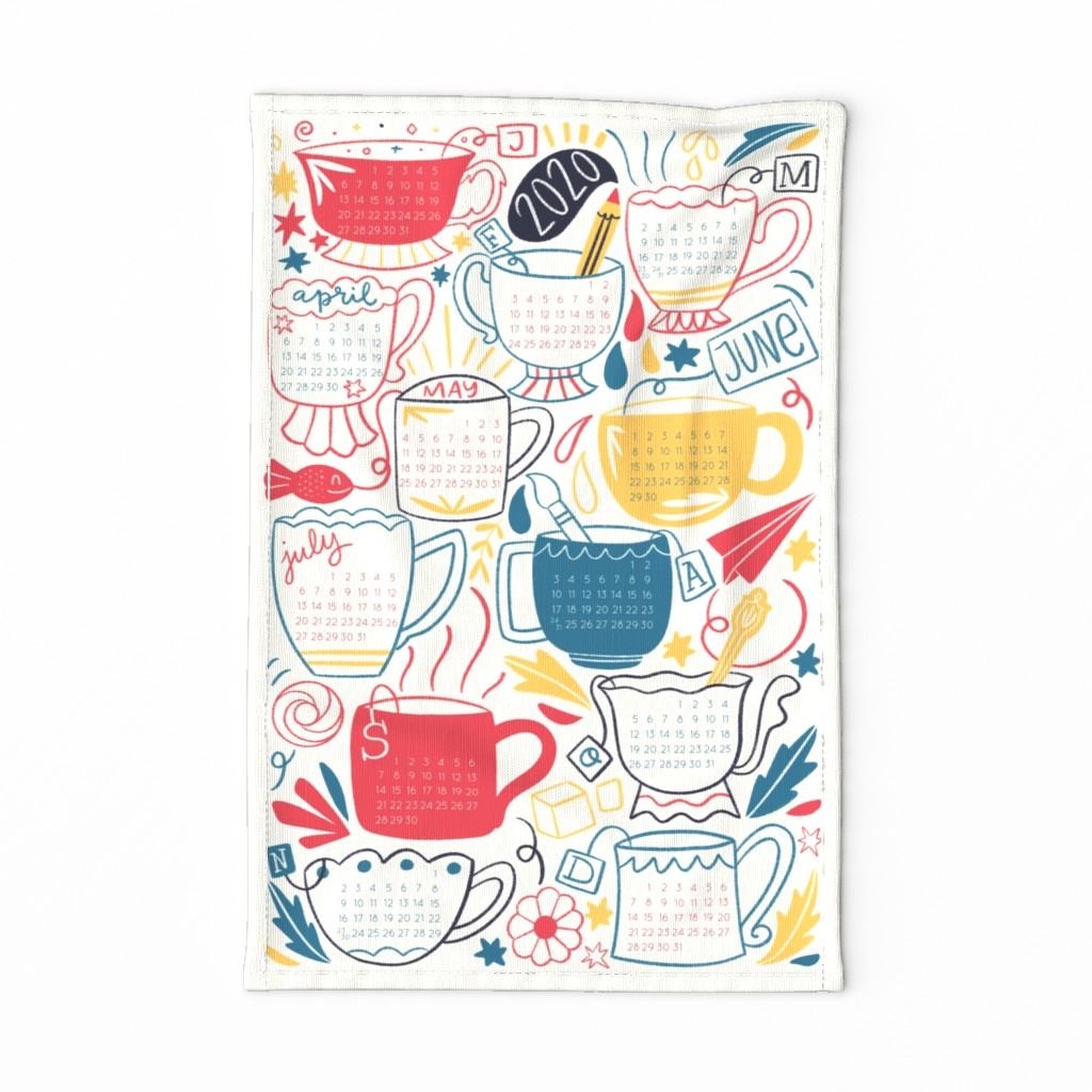Special Edition Spoonflower Tea Towel featuring Amazing 2020 year calendar by natalia_gonzalez