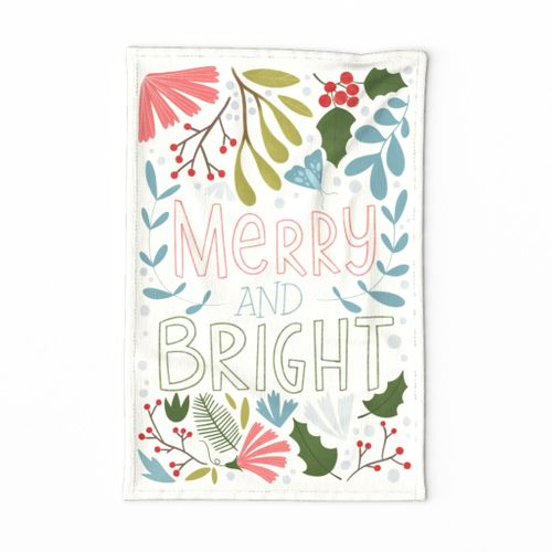 Christmas lettering teatowel spoonflower