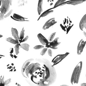 Noir summer delight • black and white • watercolor flowers