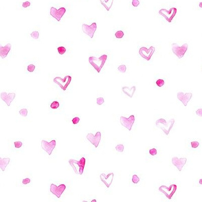 Little hearts and dots in pink