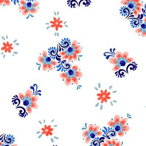 """Petrykivka folk Lilies (white) 12"""""""