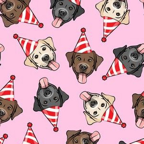 party labs - cute happy labrador retriever birthday dog breed - red on pink - LAD19