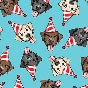 party labs - cute happy labrador retriever birthday dog breed - red on blue - LAD19