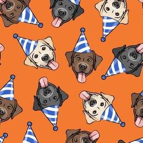 party labs - cute happy labrador retriever birthday dog breed - orange - LAD19