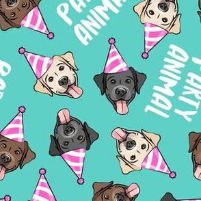 party labs - party animals - cute happy labrador retriever birthday dog breed - teal - LAD19