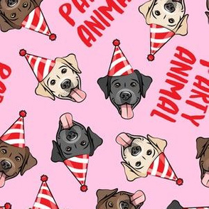 party labs - party animals - cute happy labrador retriever birthday dog breed - pink - LAD19