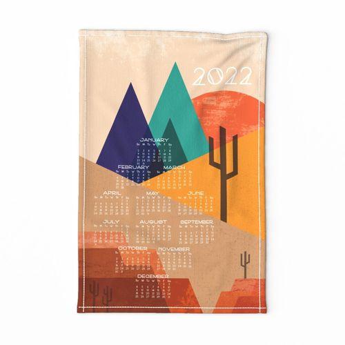 Color Block Desert 2022 Tea Towel Calendar // Mountain Views, Sunset, Geometric, Cactus, Cacti, Succulents, Landscape, Texture, Mesas, Red Rocks, Sand, Sunshine © ZirkusDesign