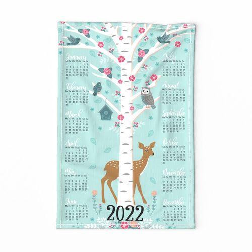 2022 ♥ flower tree calendar ♥ tea towel design