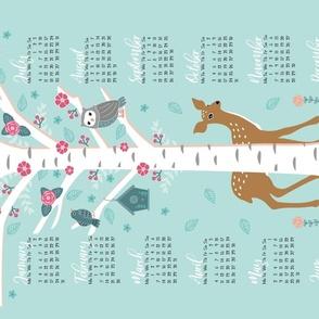 flower tree calendar ♥ tea towel design