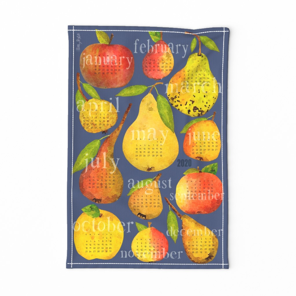 Special Edition Spoonflower Tea Towel featuring 2020 Holiday Apple and Pear Calendar by pattyryboltdesigns