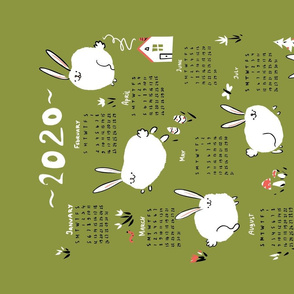 Bunnies playing on a field. 2020 calendar