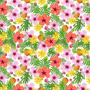 Tropical hibiscus and mango pattern