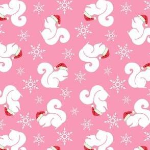 Santa Squirrels Pink