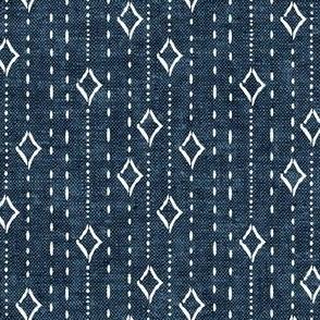 diamond stripe - bohemian diamonds - stone blue woven - LAD19