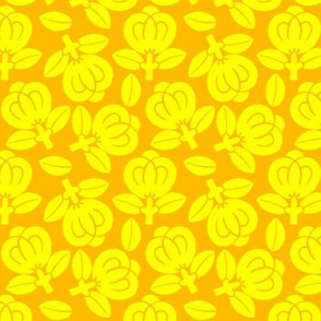 Japanese yellow flowers on orange