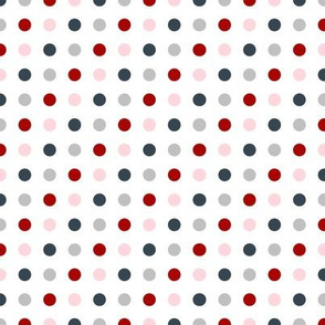 Red grey pink polka dots on white medium size
