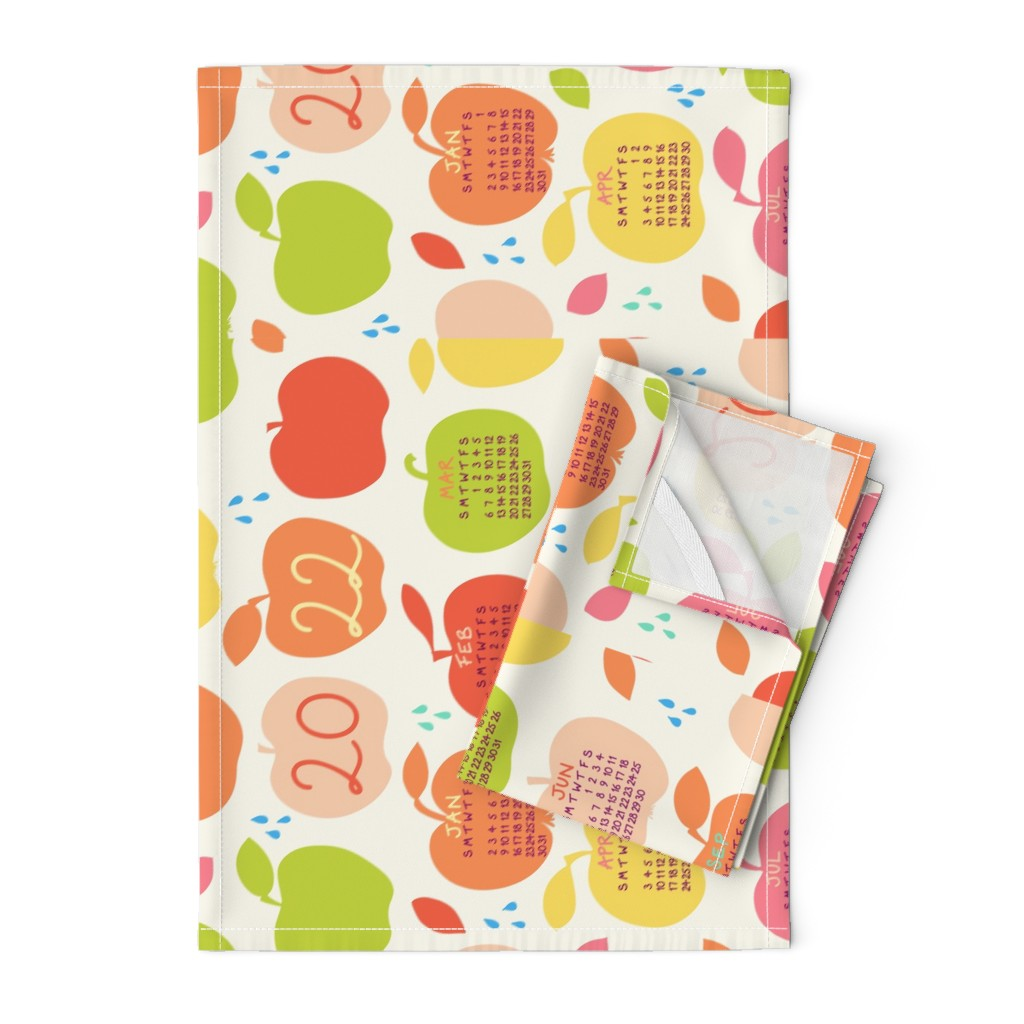Orpington Tea Towels featuring An apple a day 2020 FQ linen tea towel in orange by pippa_shaw
