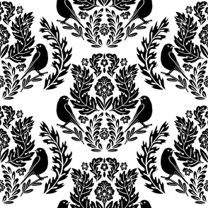 Modern Damask with Birds