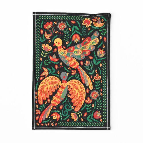 folk birds tea towel
