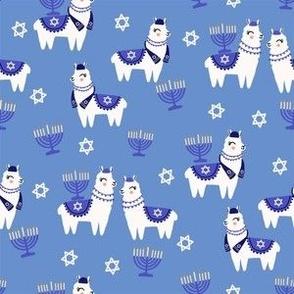 llamakah fabric - happy hanukkah llamas fabric, jewish fabric, llama fabric, holiday fabric - blue