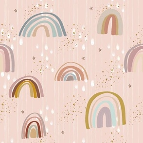Rainbow boho with stars on blush pink