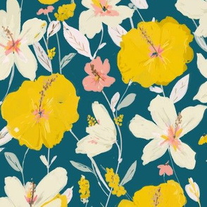 tropical hibiscus -  yellow and pink