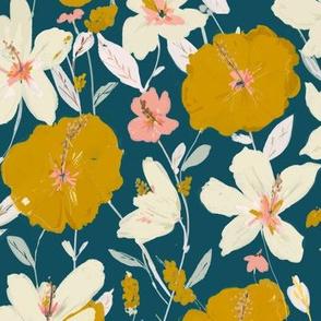 tropical hibiscus - mustard & cream