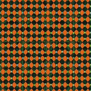 harlequin green and orange