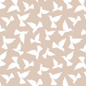 Hummingbird Silhouettes - White on Tan