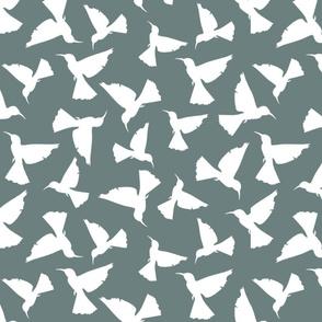 Hummingbird Silhouettes - White on Green