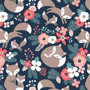Cute Fox Family with Winter Flora / Dark Blue / Small Scale