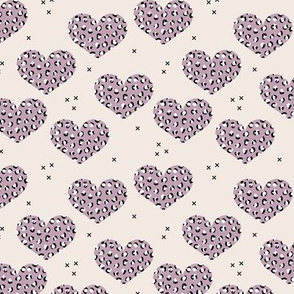 Leopard print lovers cute hearts with panther wild cat print valentine mauve purple