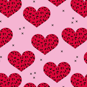 Leopard print lovers cute hearts with panther wild cat print valentine red pink girls