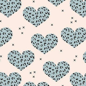 Leopard print lovers cute hearts with panther wild cat print valentine blue boys beige nursery