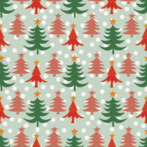Christmas Trees on Mint Green