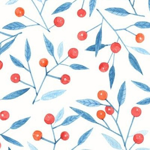 Watercolor winter berries on a light background