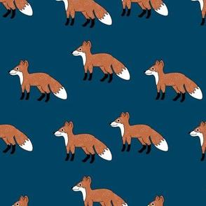 Little Fox forest love sweet fall winter design navy blue rust copper